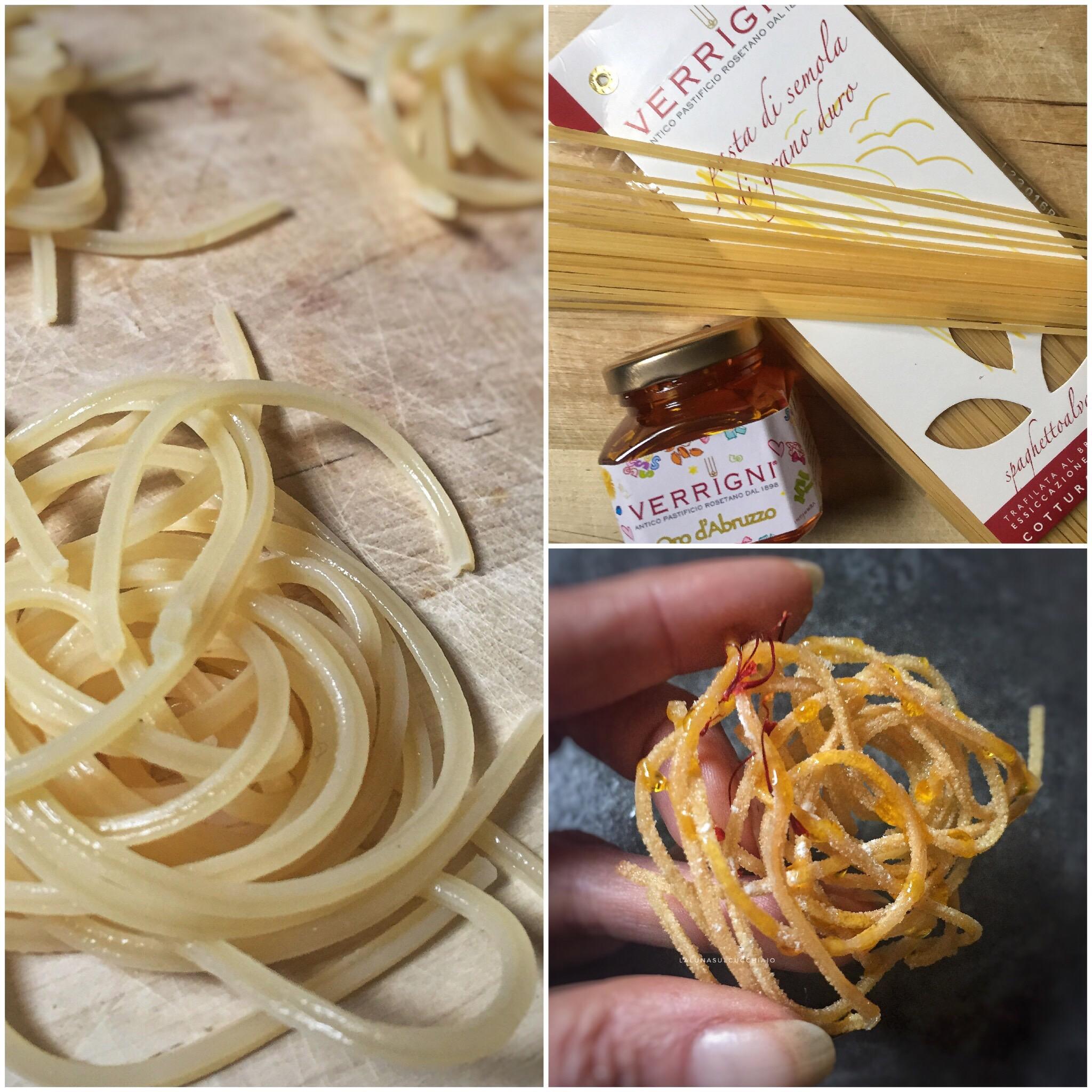 Frittelle di spaghetti con miele allo zafferano