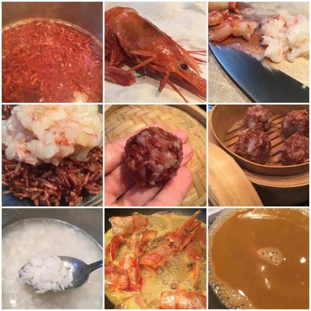 Crema di riso aromatico con polpettine di riso rosso e gamberi