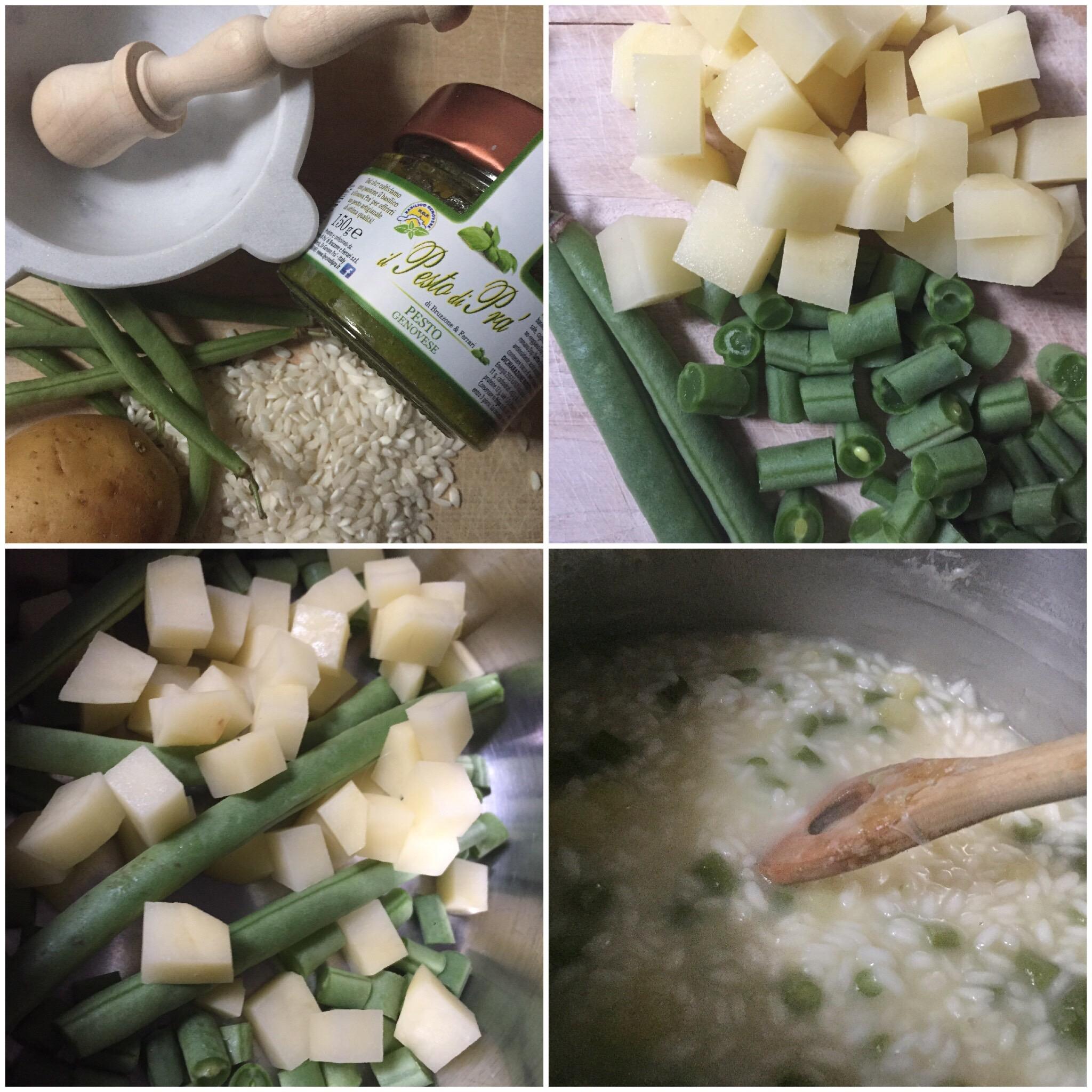 Risotto al pesto con patate e fagiolini