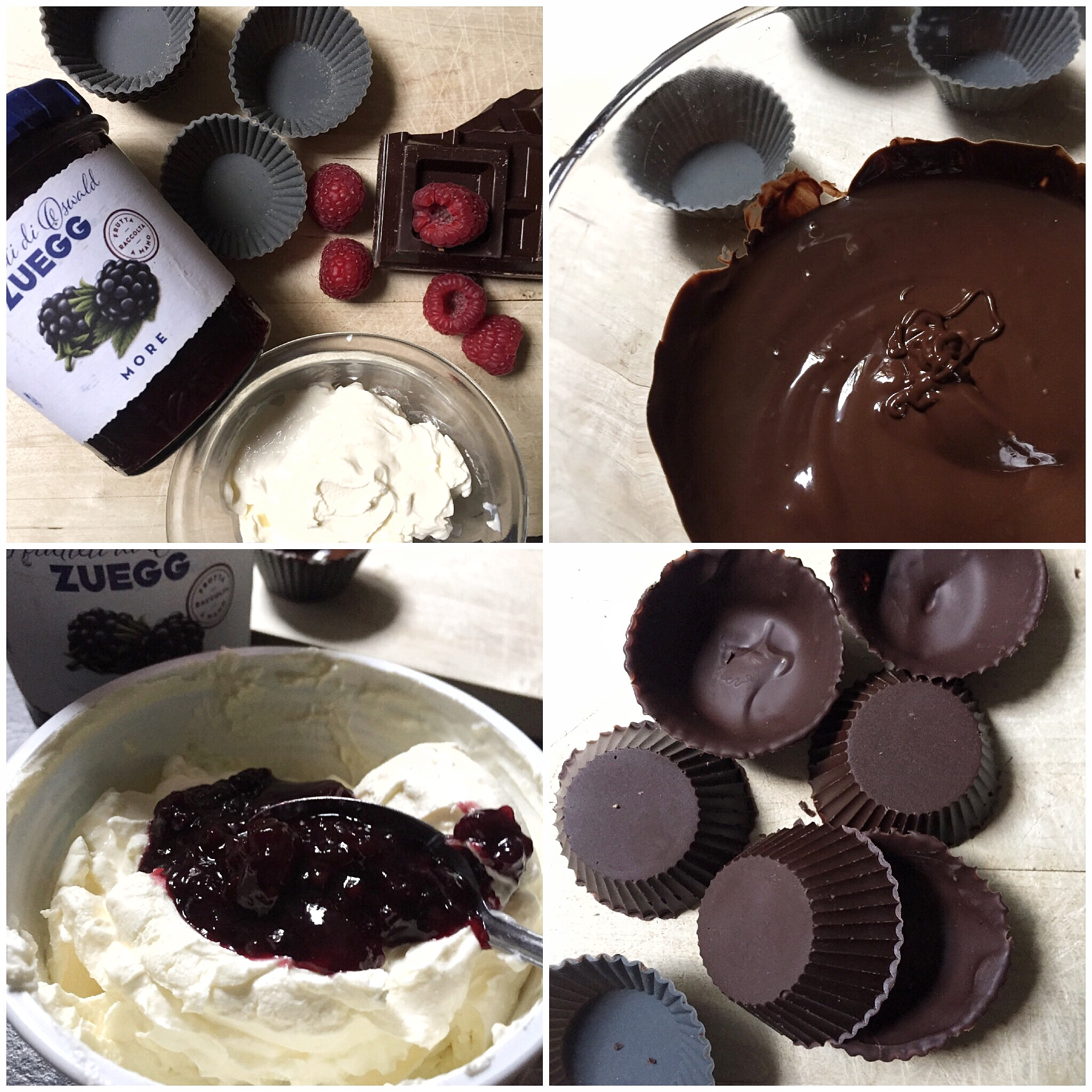 Tartellette di cioccolato con marmellata di more e lamponi
