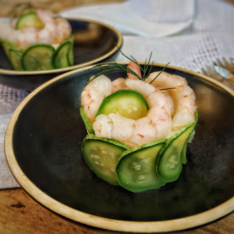 Finto sushi di ricotta zucchine e gamberetti