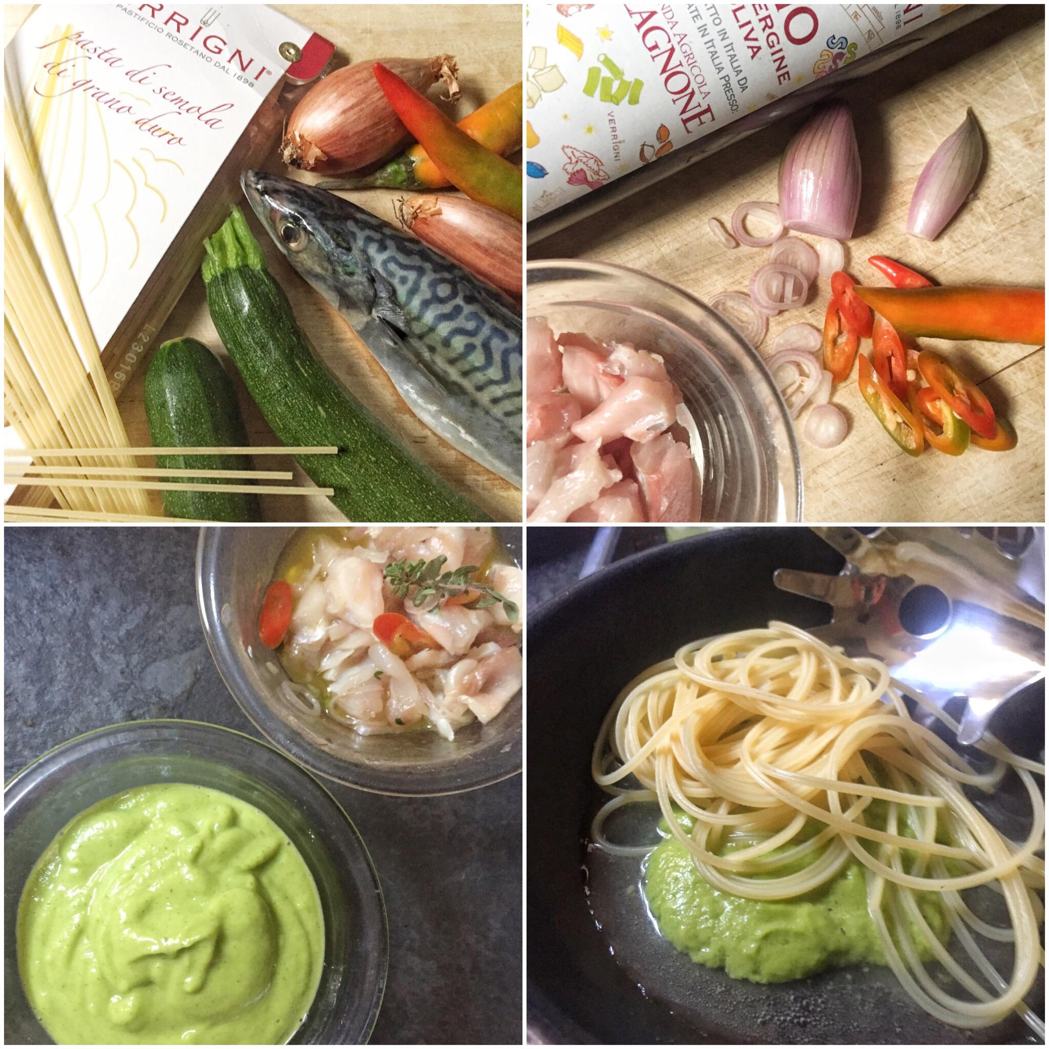 Spaghetti senza cottura con crema di zucchine e sgombro marinato