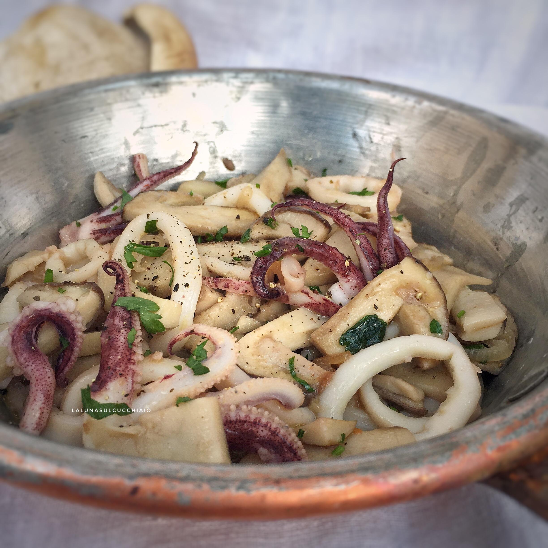 Calamari e funghi porcini in padella
