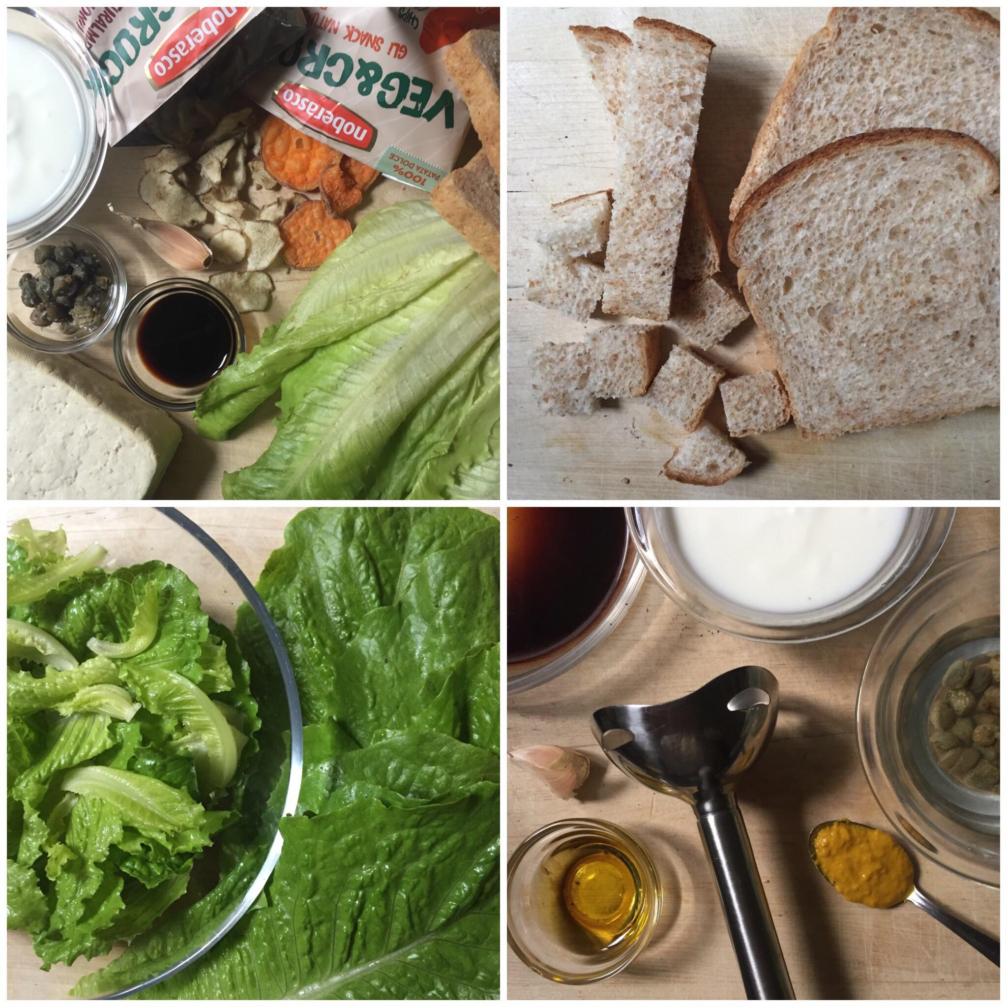 Ceasar Salad vegetariana con tofu