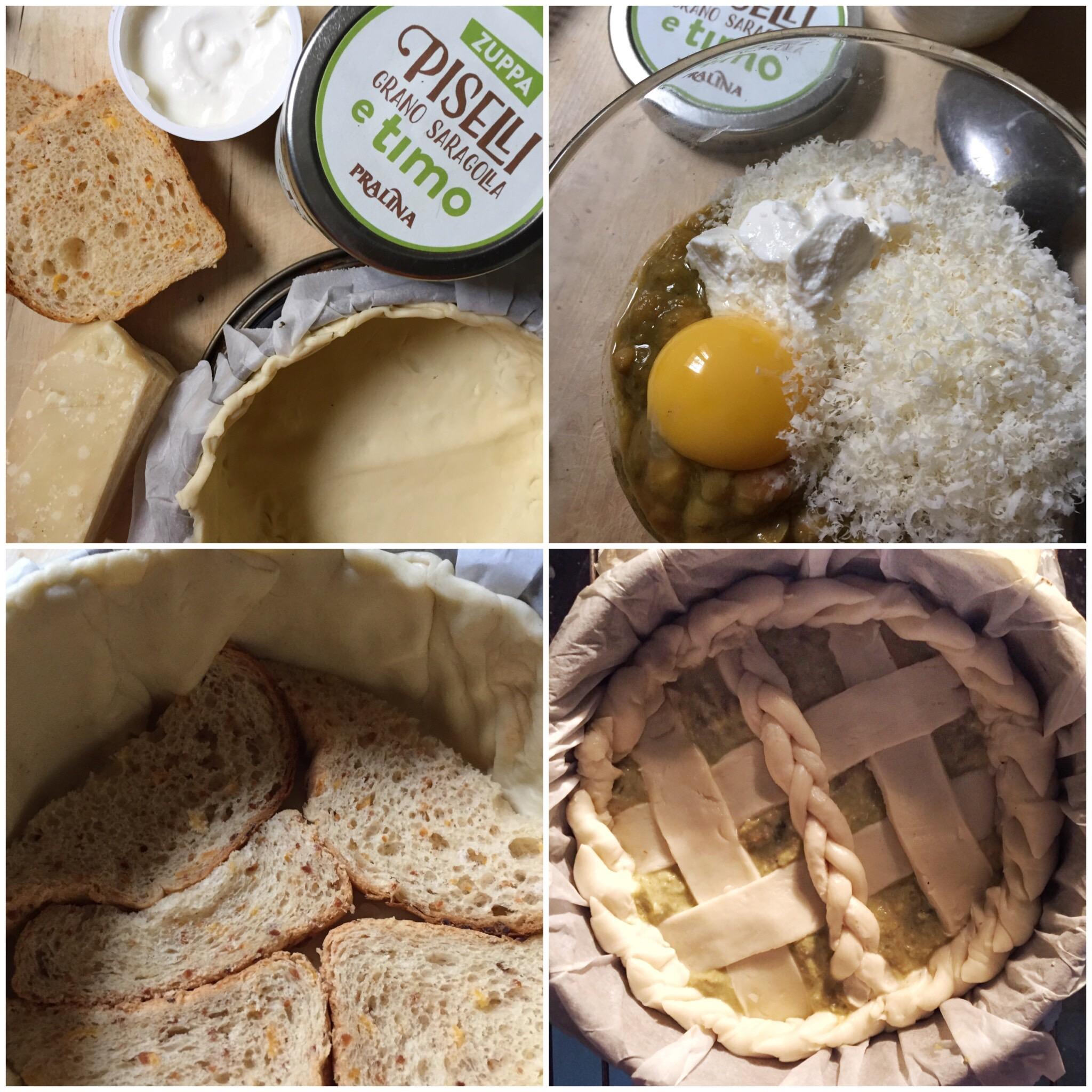 Torta salata con grano Saragolla piselli e timo