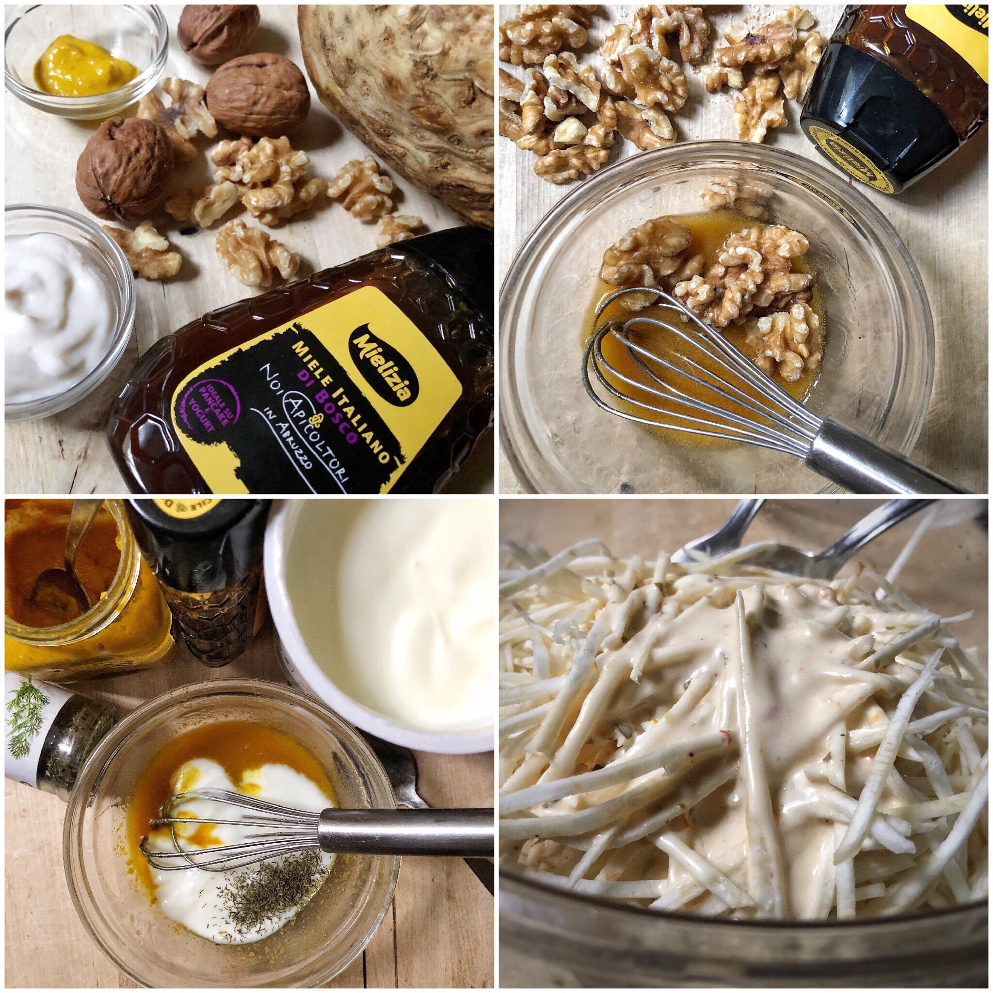 Insalata di sedano rapa con noci al miele