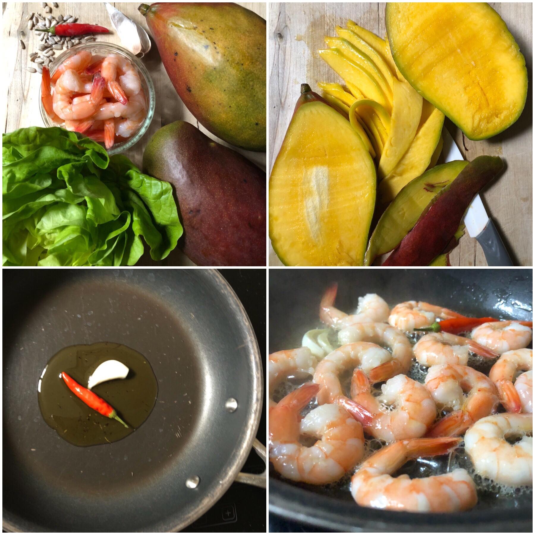 Insalata di mango lattuga e gamberi piccanti