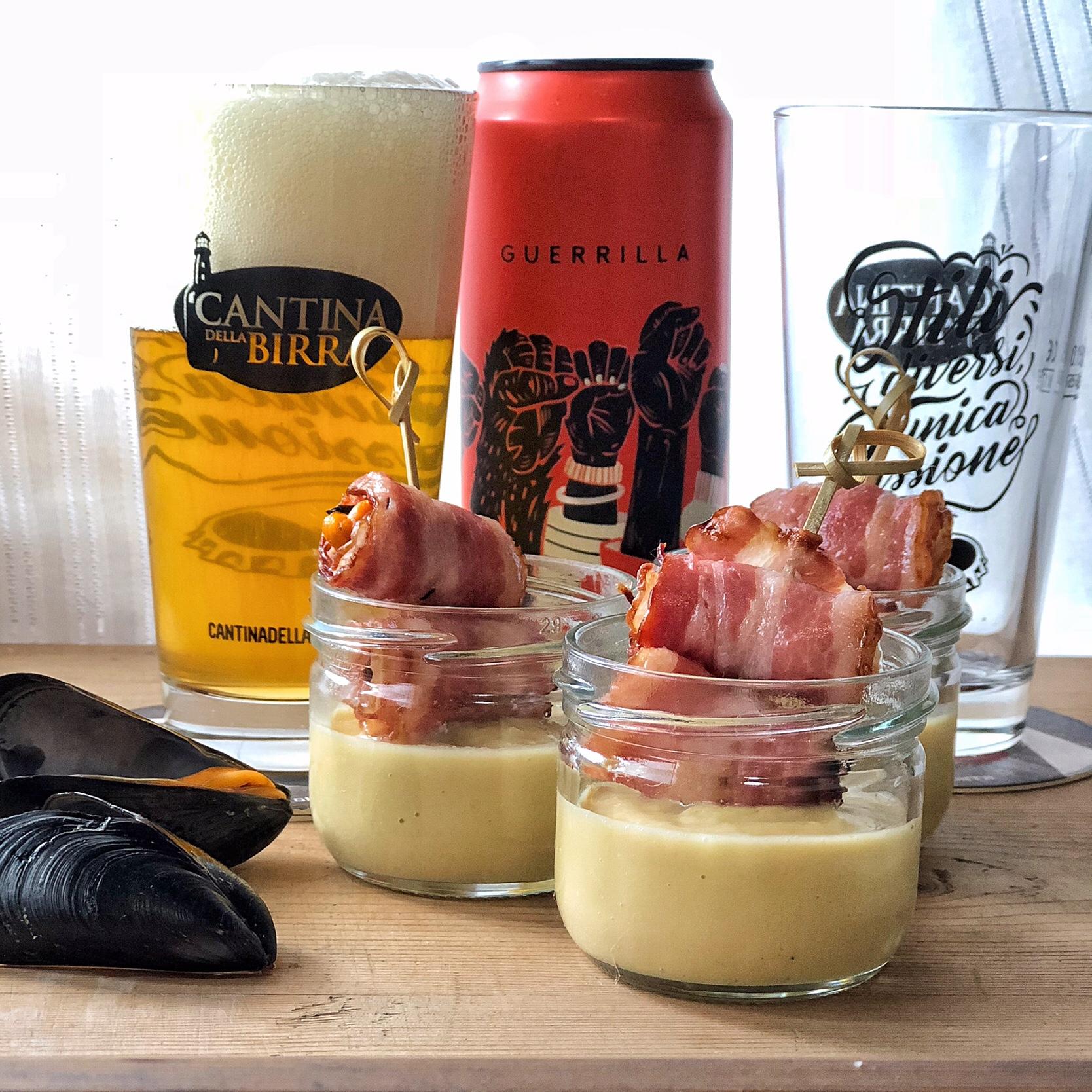 Crema di ceci con spiedini di cozze e bacon alla birra