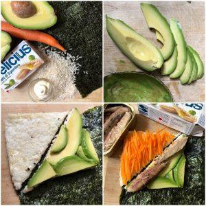 Sushi tramezzini di riso allo sgombro con avocado e carote