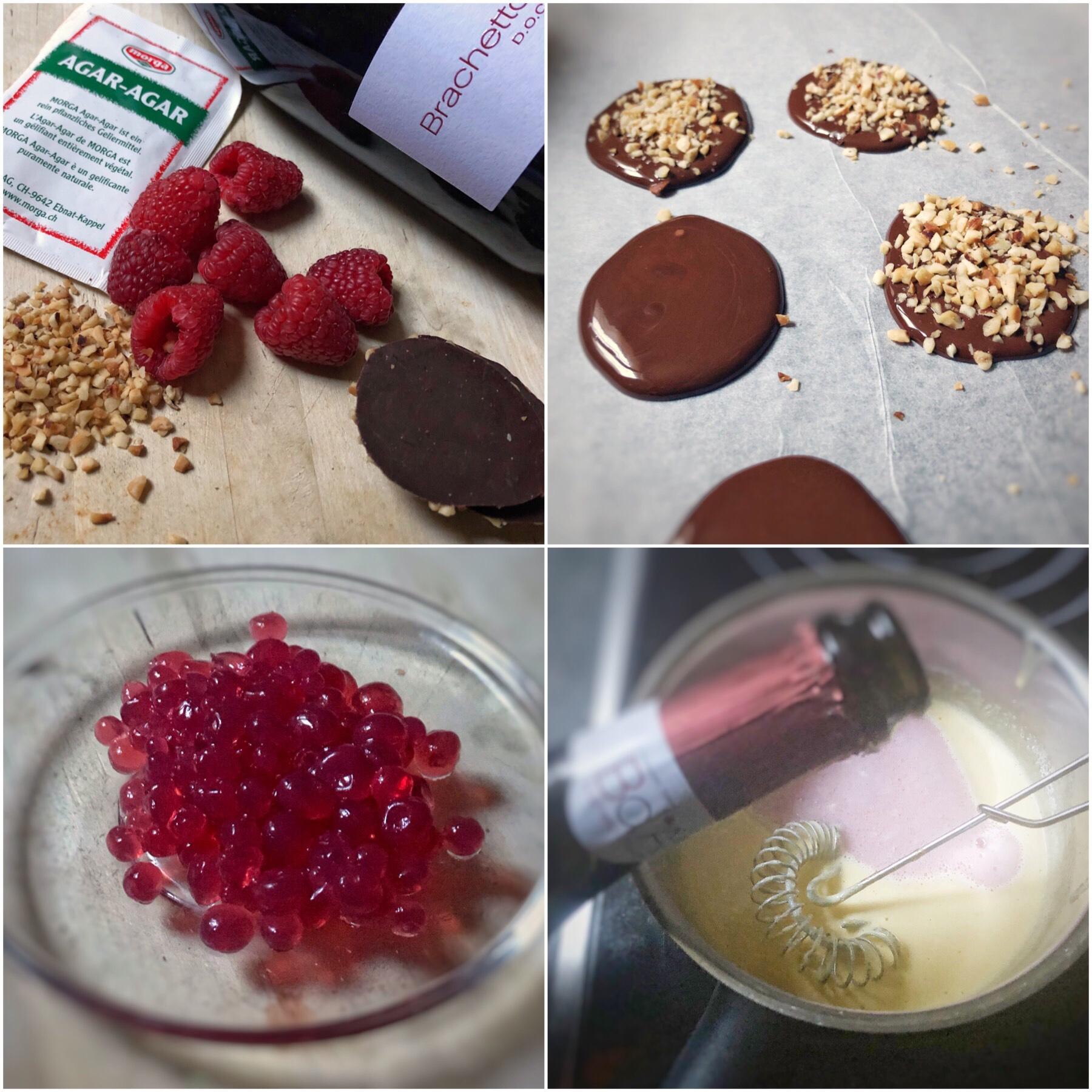 Zabaione al Brachetto d'Acqui DOCG con cioccolato lamponi e caviale