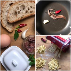 Tagliatelle di pane al burro e acciughe