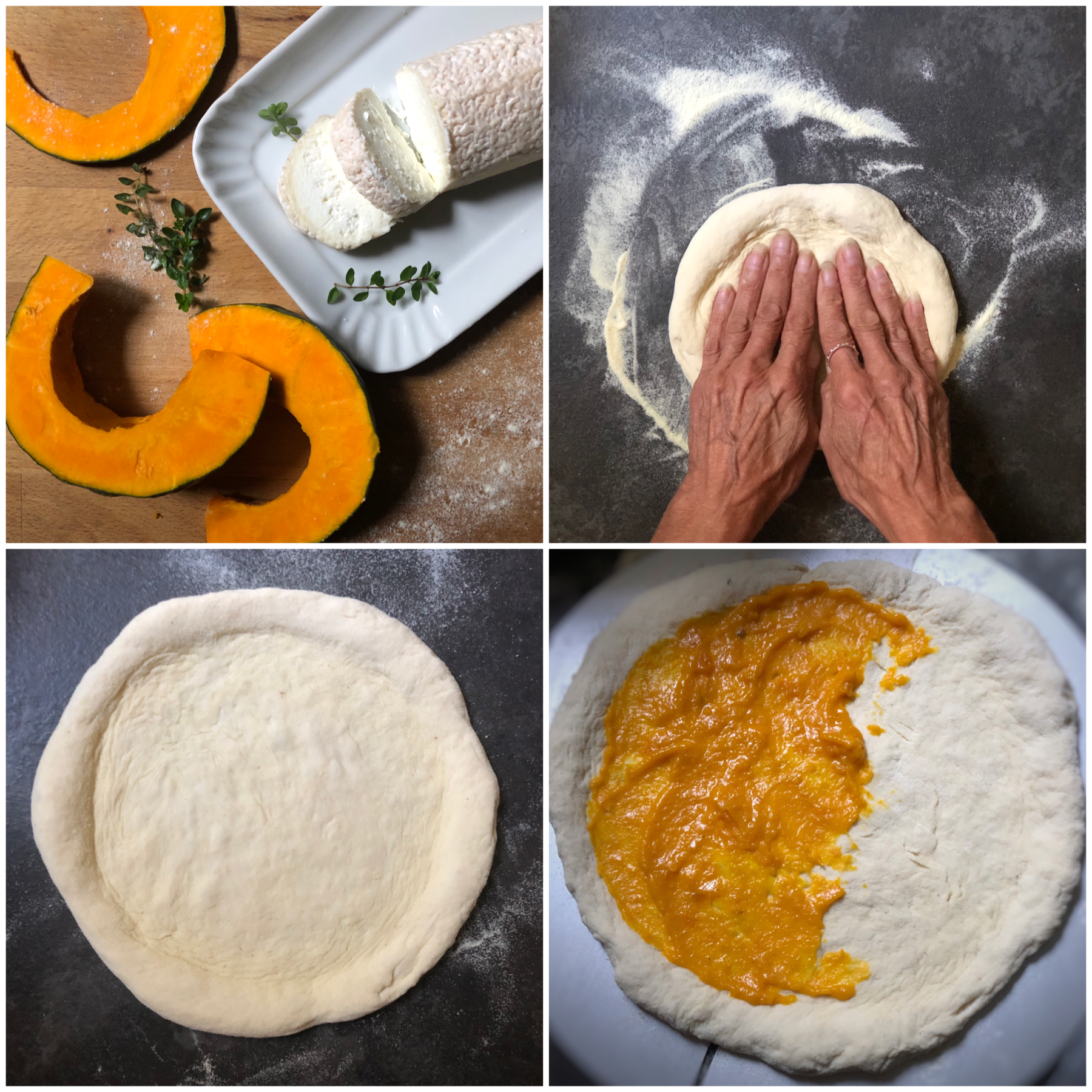 Pizza alla zucca e funghi con formaggio di capra
