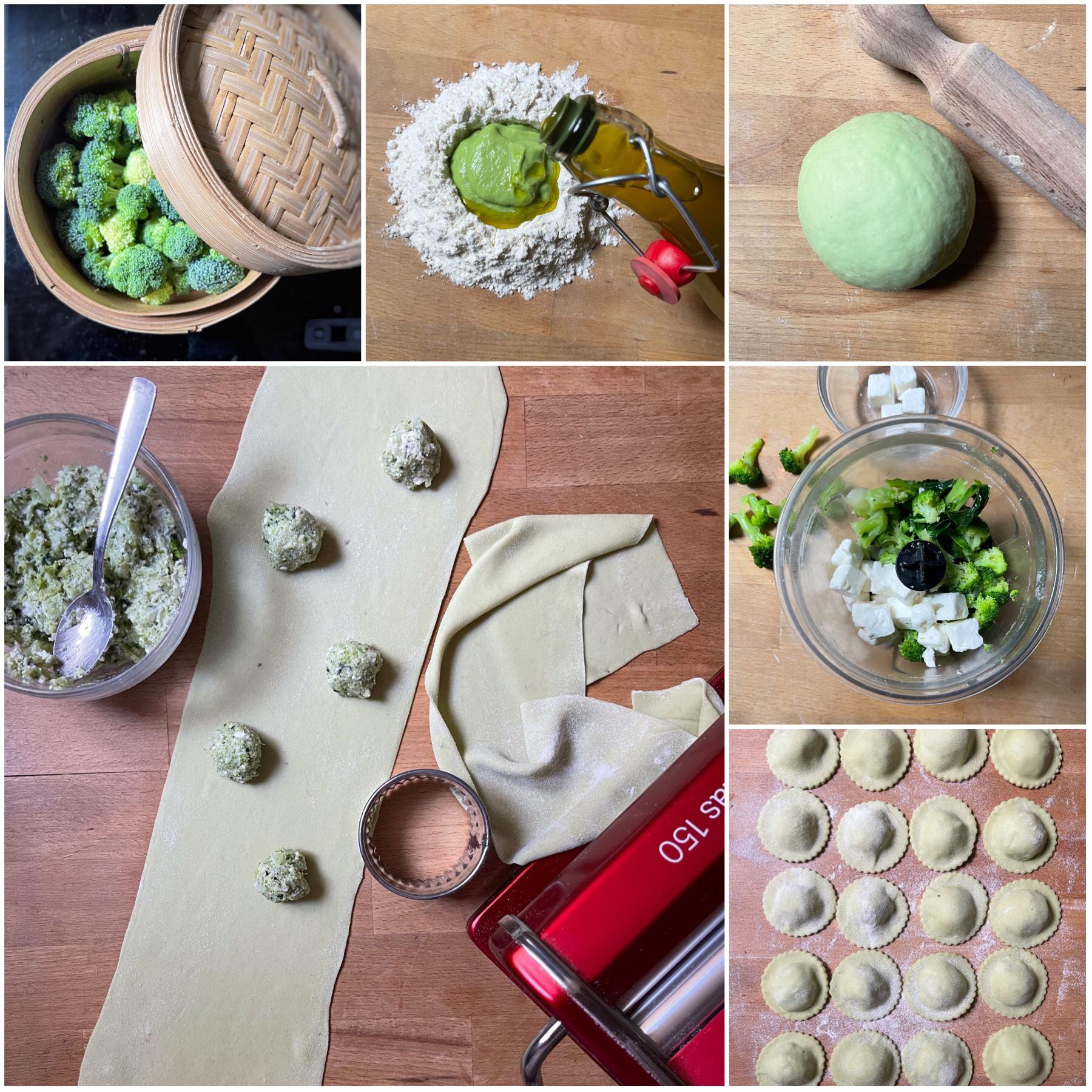 Ravioli di broccoli e Feta con pesto di nocciole