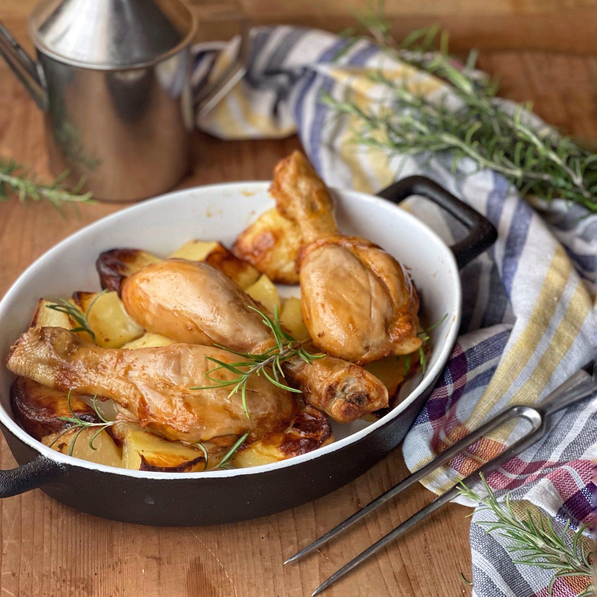 Cosce di pollo arrosto cotte al forno